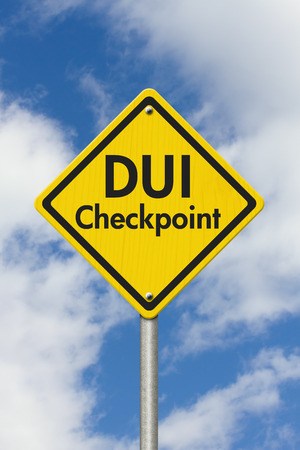 under the influence: Yellow Warning DUI Checkpoint Highway Road Sign, Red, Yellow Warning Highway Sign with words DUI Checkpoint with sky background