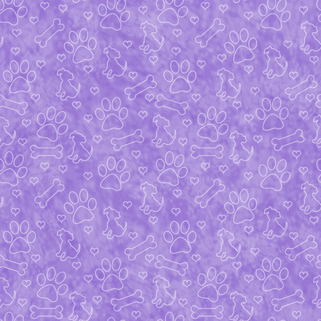Purple Dog Paw Prints, Puppy, Bone and Hearts Tile Pattern Repeat Background that is seamless and repeats 스톡 콘텐츠