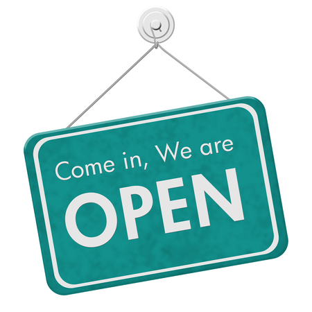 come in: Come in We are Open Sign, A teal hanging sign with text Come in We are Open isolated over white