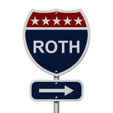 highway sign: American Roth Highway Road Sign, Red, White and Blue American Highway Sign with words Roth isolated on white Stock Photo