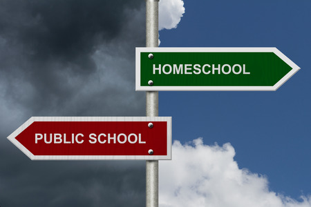 homeschooling: HomeSchool versus Public School concept, Red and Green street signs with bright and stormy sky background with words HomeSchool versus Public School
