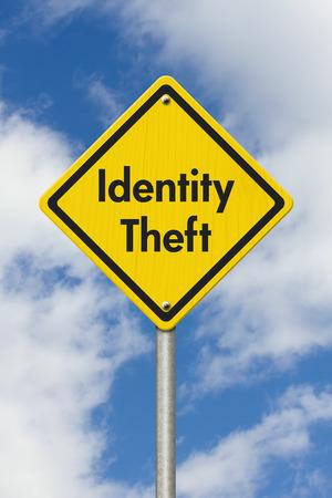 identity theft: Yellow Warning Identity Theft Highway Road Sign, Yellow Warning Highway Sign with words Identity Theft with sky background