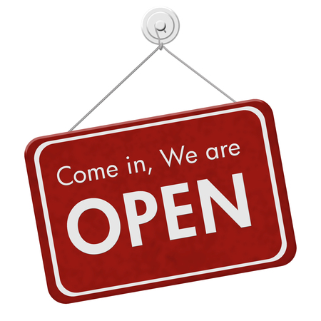 isolated sign: Come in We are Open Sign, A red hanging sign with text Come in We are Open isolated over white Stock Photo