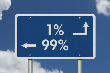 99: The 1% ers versus the 99% ers, Blue Road Sign with text 1% and 99% with sky background