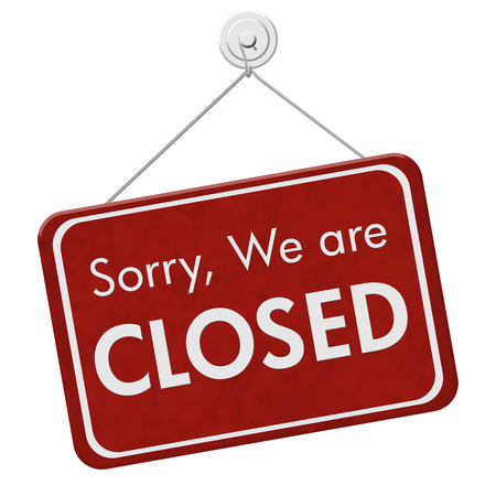 Sorry We are Closed Sign, A red hanging sign with text Sorry We are Closed isolated over white