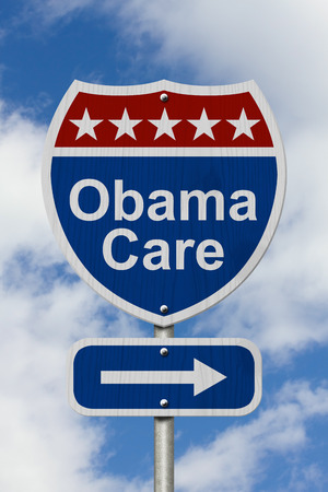 affordable: Way to get the Obama Care Road Sign, Red, White and Blue American Highway Sign with words Obama Care with sky background