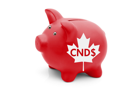 isolation white: The Canadian Dollar Currency, A red piggy bank with a white Canadian maple leaf flag and text CND $ isolated on white Stock Photo