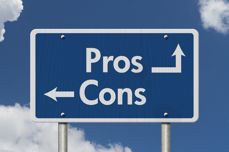 cons: Difference between the Pros and the Cons, Blue Road Sign with text Pros and Cons with sky background