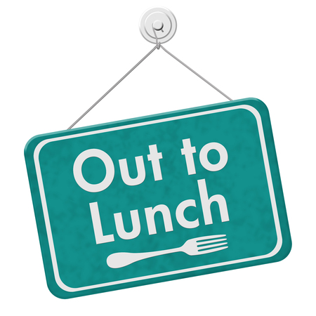 A teal hanging sign with text Out to Lunch and fork symbol isolated over white Фото со стока