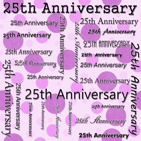 25th: 25th Anniversary Design with Pink Polka Dot Tile Pattern Repeat Background that is seamless and repeats