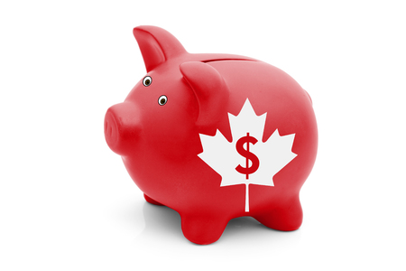 canadian maple leaf: The Canadian Dollar Currency, A red piggy bank with a white Canadian maple leaf flag and text $ isolated on white
