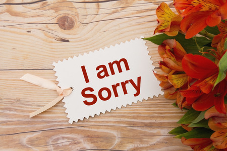 i am sorry: Some lilies on weathered wood with a gift tag with text I am Sorry