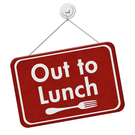 out to lunch: A red hanging sign with text Out to Lunch and fork symbol isolated over white Stock Photo