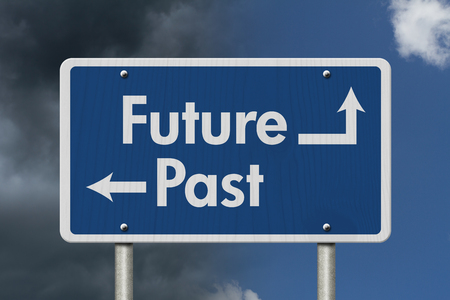 dark skies: Difference between the Future and the Past, Blue Road Sign with text Future and Past with bright and stormy sky background