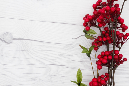 space wood: Winter Time Background, Some red winter berries on weathered wood with copy space for your message