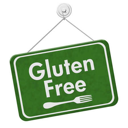 Finding Gluten Free Food, A green hanging sign with text Gluten Free and a fork isolated over white Stock Photo
