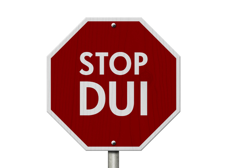 dui: DUI Stop Road Sign, Red and White Stop Sign with words Stop DUI isolated on white Stock Photo