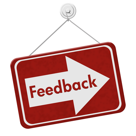Getting Feedback for your business, A red hanging sign with text Feedback isolated over white Stock Photo