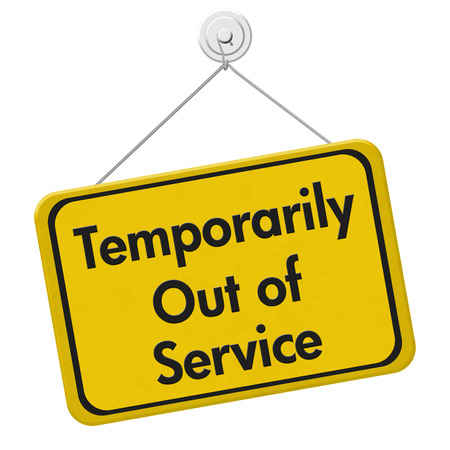 Temporarily Out of Service,  A yellow and black sign with the words Temporarily Out of Service isolated on a white background