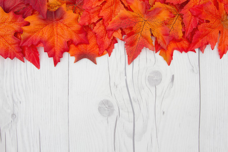 space wood: fall leaves on weathered wood with copy space for message