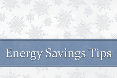 Some snowflakes with text Energy Savings Tips Imagens