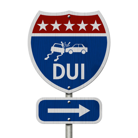 Red, White and Blue American Highway Sign with words DUI isolated on white