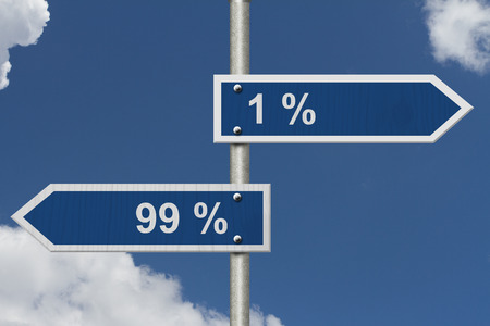 99: Two Blue Road Sign with text 1% and 99% with sky background