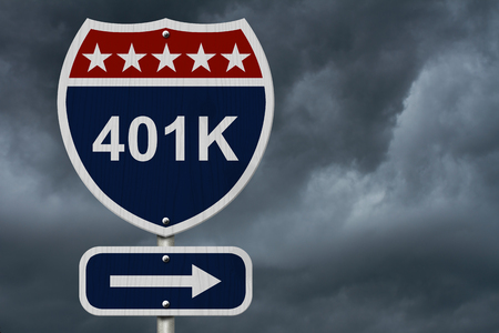 roth: American 401K Highway Road Sign, Red, White and Blue American Highway Sign with words 401K with stormy sky background