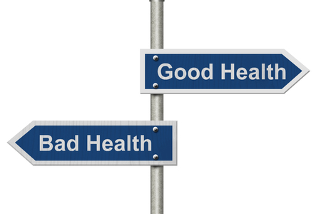 buena salud: Two Blue Road Sign with text Good Health and Bad Health isolated over white