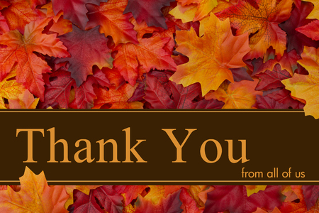 Some fall leaves with text Thank You from all of us Imagens