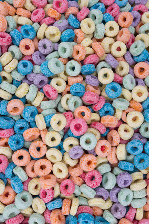 sugary: Colorful Sugary Cereal Background Stock Photo
