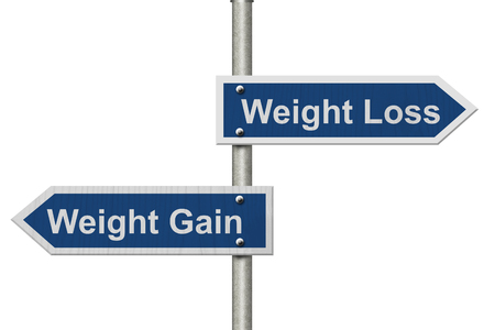 isolated sign: Two Blue Road Sign with text Weight Loss and Weight Gain isolated over white