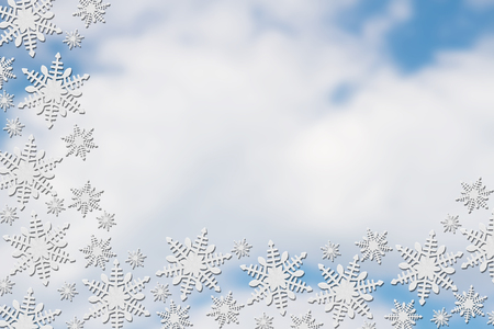 blank spaces: White Snowflakes with Clouds Background with copy-space for message