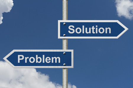 problems solutions: Finding Solutions for your Problems, Two Blue Road Sign with text Problem and Solution with sky background
