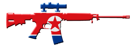riffle: An outline of an assault rifle with the flag of North Korea isolated on white
