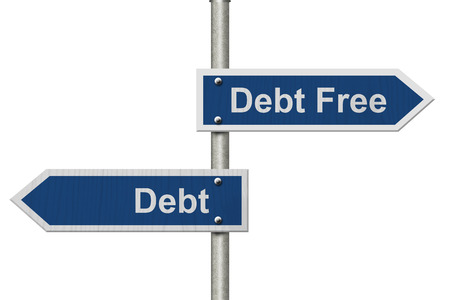 Two Blue Road Sign with text Debt Free and Debt isolated over white