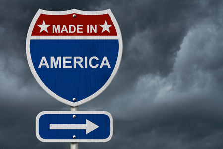 red america: Red, White and Blue American Highway Sign with words Made in America with stormy sky background
