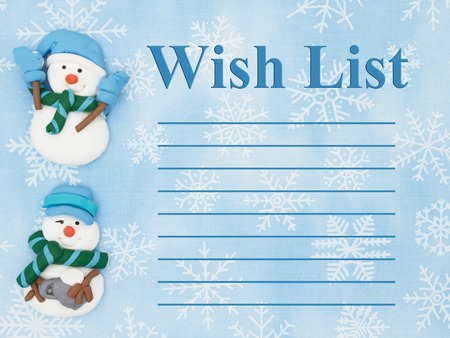 wish  list: Snowmen with a blue and white snowflakes background with text Wish List