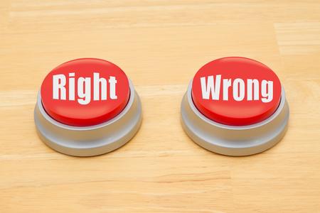 오른쪽과 틀린 텍스트 나무 책상에 두 개의 빨간색과 은색 푸시 버튼