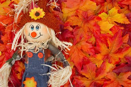 Algunas hojas de otoño y chica espantapájaros con el copia-espacio