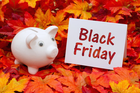 Some fall leaves and a piggy bank and a blank greeting card with text Black Friday