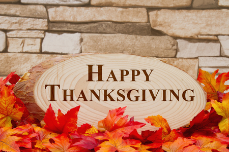 wood plaque: Some fall leaves and wood plaque on weathered brick with text Happy Thanksgiving Stock Photo