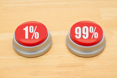99: Two red and silver push button on a wooden desk with text 1% and 99% Stock Photo