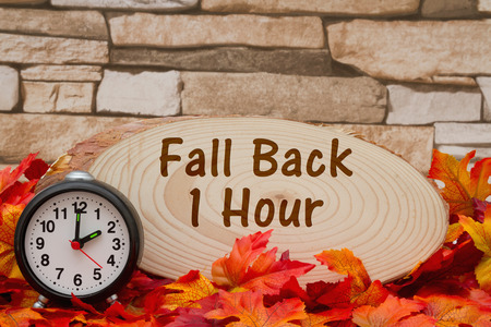 wood plaque: Some fall leaves, an alarm clock and wood plaque on weathered brick with text Fall Back 1 hour Stock Photo