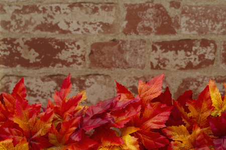 Some fall leaves on weathered bricks with copy space for message