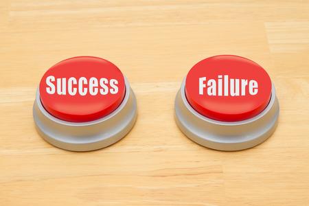 텍스트와 나무 책상에 두 개의 빨간색과 은색 푸시 버튼 성공과 실패