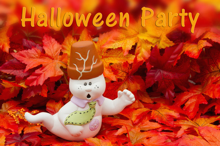 Some fall leaves and white Halloween Friendly Ghost with text Halloween Party
