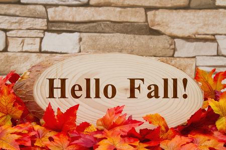 wood plaque: Some fall leaves and wood plaque on weathered brick with text Hello Fall