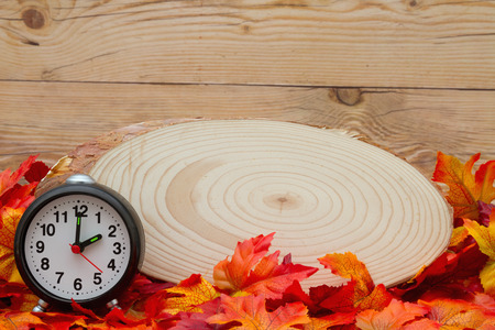 wood plaque: Some fall leaves with cut wood plaque and an alarm clock on weathered wood with copy space for your message