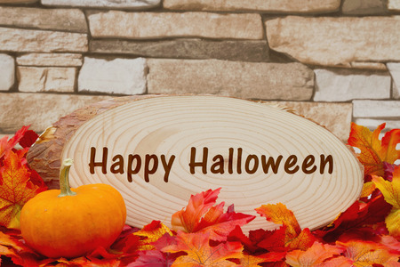 wood plaque: Some fall leaves, a pumpkin and wood plaque on weathered brick with text Happy Halloween Stock Photo